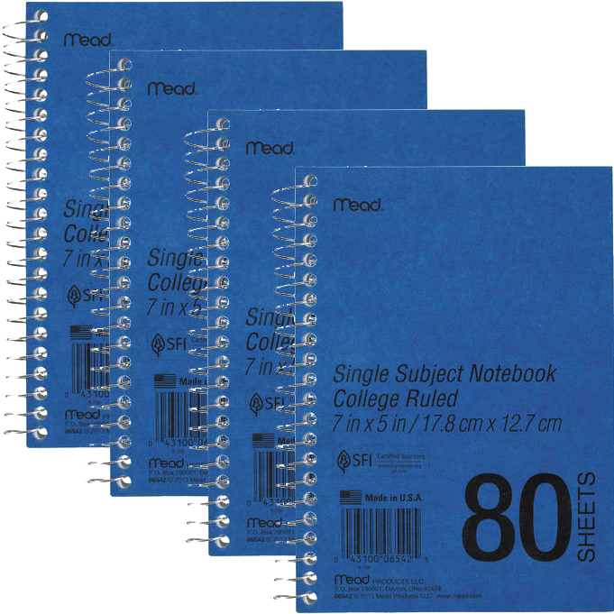 Mead DuraPress Cover Notebook, College Rule, 7 x 5, White, 80 Sheets -MEA06542