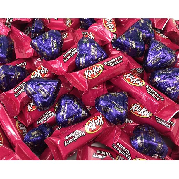 Valentine S Day Candy Assortment Hershey S Hearts Special Dark Chocolate Purple Foil Pink Kit Kat Miniatures Raspberry Creme Bars Bulk 3 Pound Bag Walmart Com Walmart Com