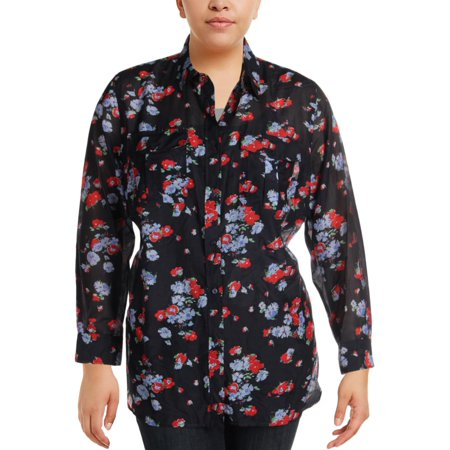 Silk Blend Camp Shirt - Lauren Ralph Lauren Womens Plus Silk Blend Floral Print Button-Down Top Navy 2X