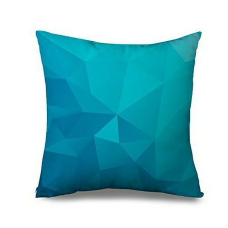Wendana Fashion Home Decorative Pillow Cover,Modern Teal Geometric Throw Pillows For Couch Canvas Triangle Accent Pillow Case 18 x 18