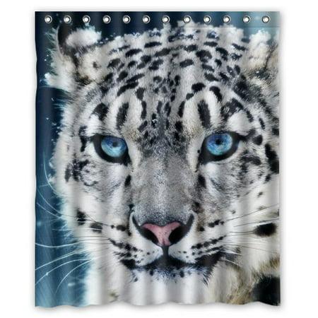 Greendecor Snow Leopard White Tiger Face Waterproof Shower