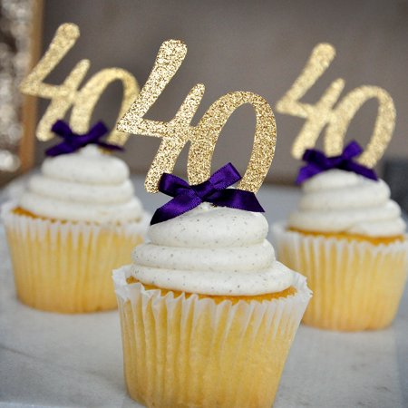 40th Birthday Party Decor. Ships in 1-3 Business Days. Glitter Gold Number