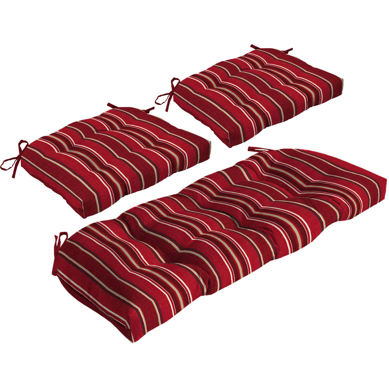 Better Homes and Gardens Outdoor Patio Wicker Cushion Set for Settee and 2 Chairs