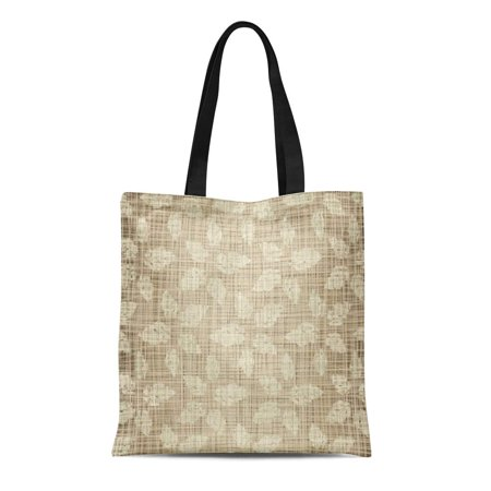 Tan Stripe Bow - ASHLEIGH Canvas Tote Bag Brown Pattern Structure Beige Leaves Against Tan Stripes Weave Reusable Shoulder Grocery Shopping Bags Handbag