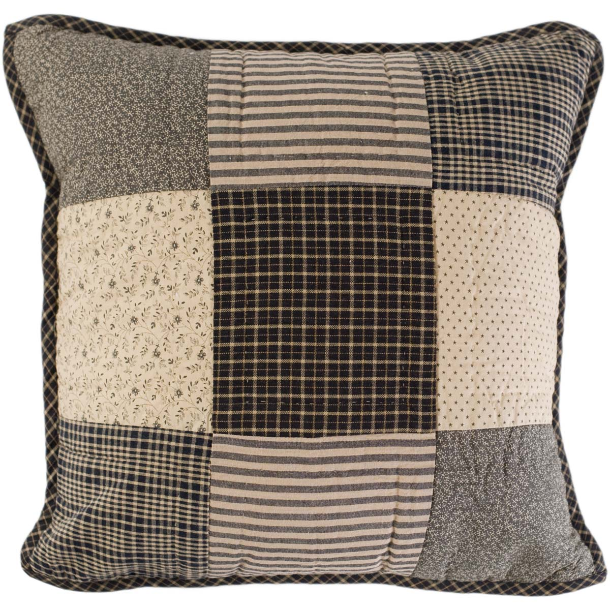 Country Black Primitive Bedding Prim Grove Cotton Hand Quilted Patchwork Square Pillow (Pillow Cover, Pillow Insert)