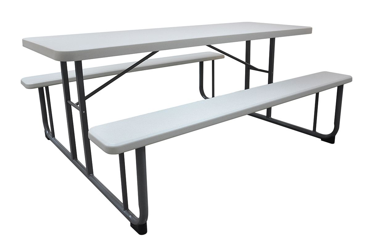 "57""D x 72-1 8""W Rectangle Plastic Picnic Table, White 1MDU4 by VALUE BRAND"