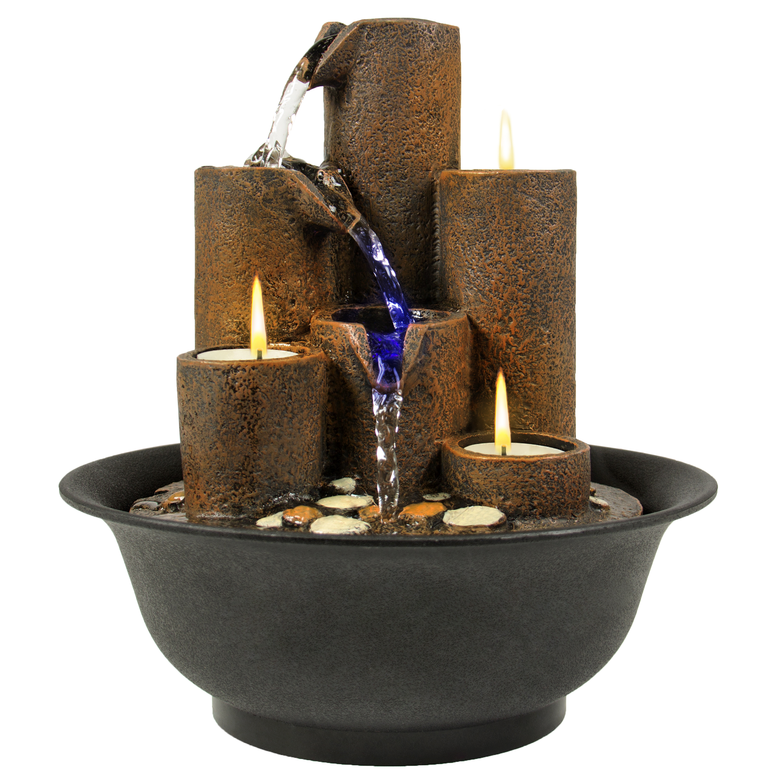 Best Choice Products Home Accent Tabletop Fountain Waterfall W  3 Candles And LED Lights by Best Choice Products