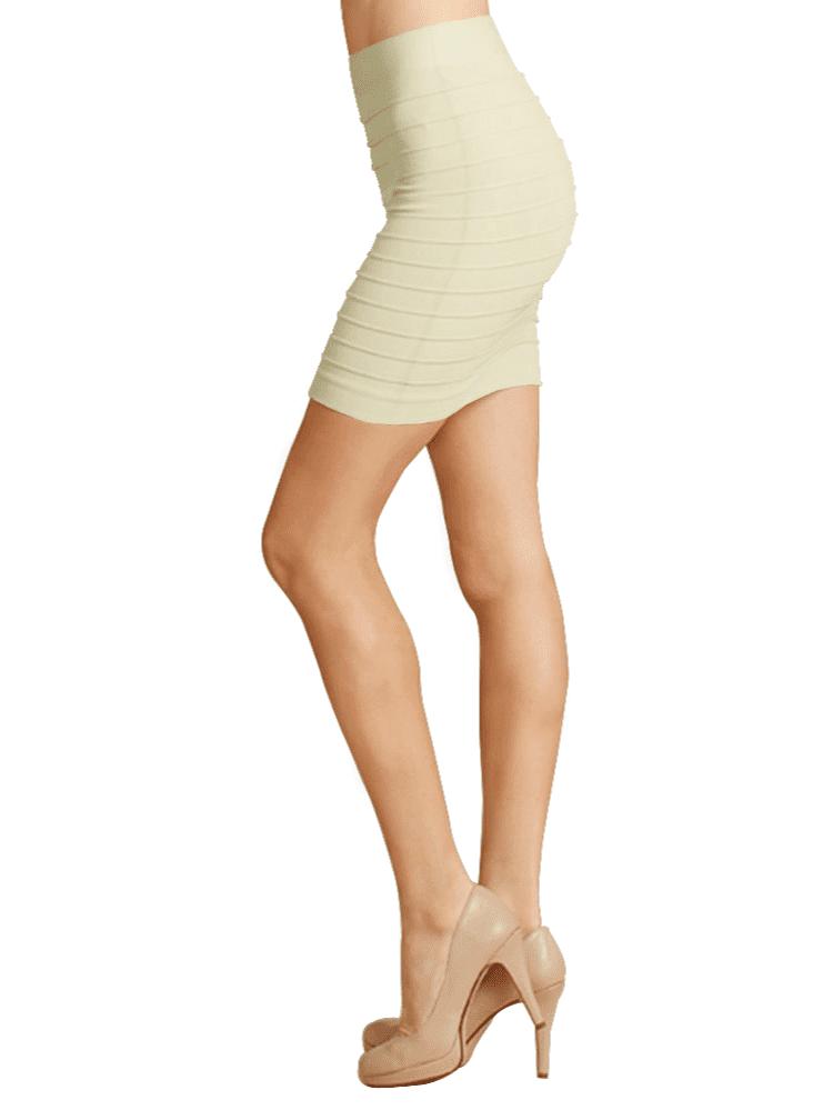 Simlu Womens Seamless Bandage Bodycon Basic Striped Mini Skirt One Size Fits All