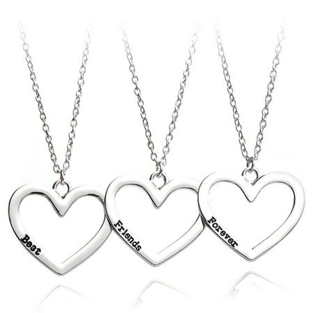 AkoaDa New Necklace Heart Pendant 3 Pieces Broken Three Best Friend Forever Necklace Women Necklace Jewelry Collares