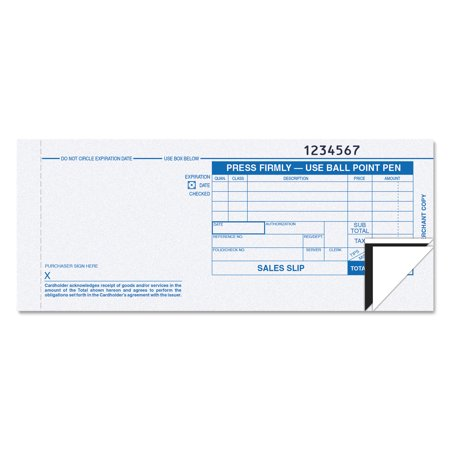 Tops Credit Card Sales Slip  7 7 8 X 3 1 4  Three Part Carbonless  100 Forms