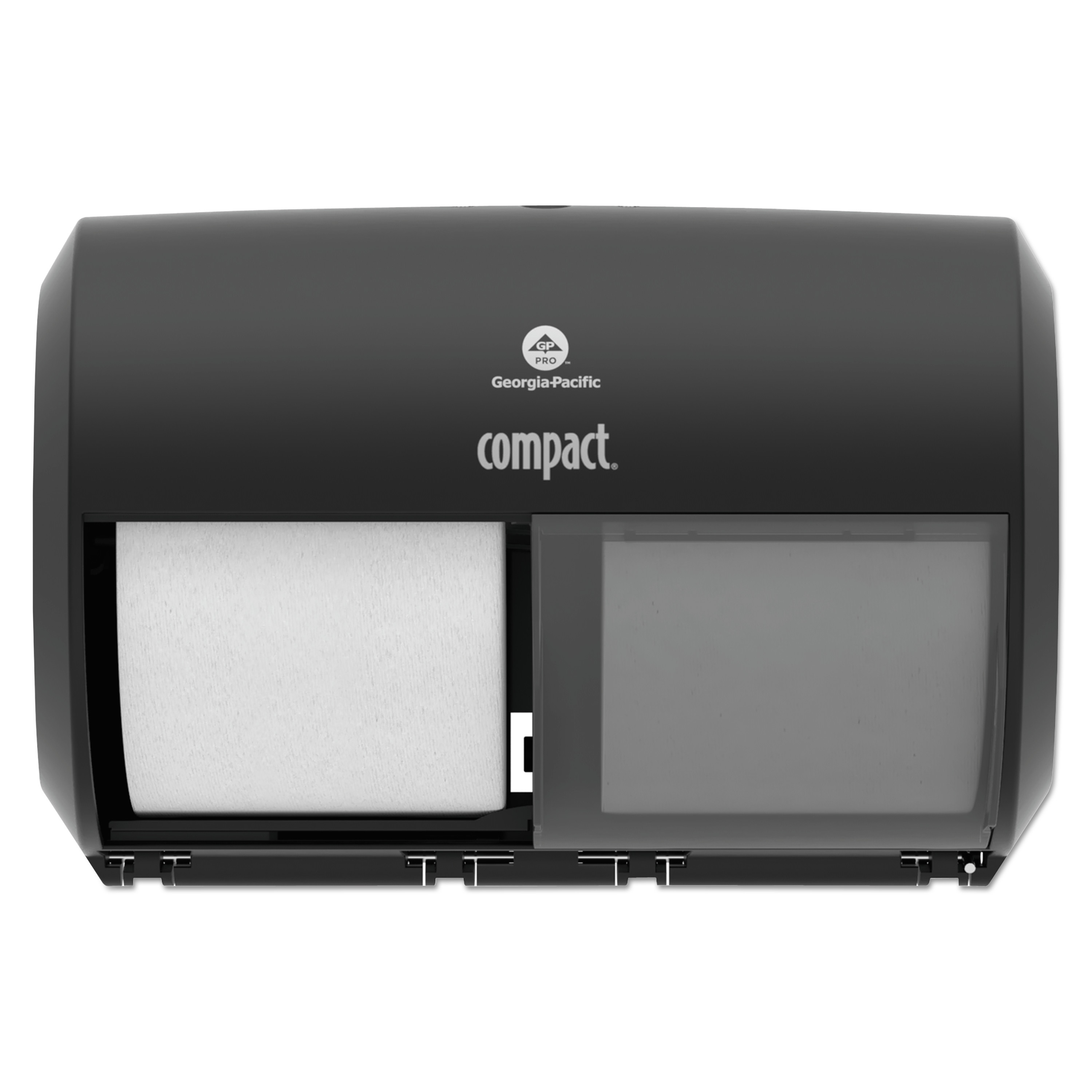 "Georgia Pacific Professional Compact Coreless Side-by-Side Double Roll Tissue Dispenser, 11.5"" x 8"", Black"