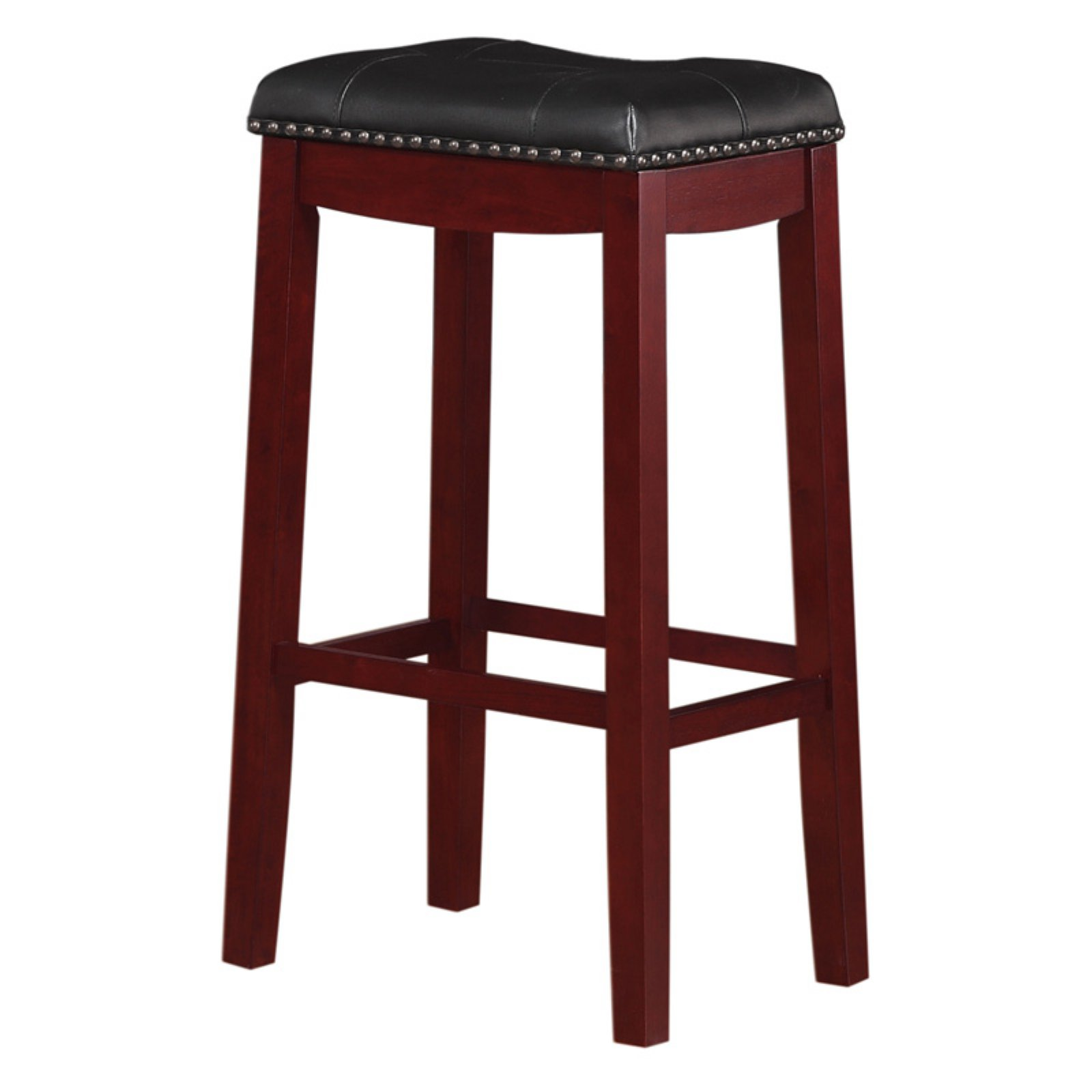 "Angel Line Cambridge 29"" Padded Saddle Stool, Cherry w/ Dark Red Cushion"