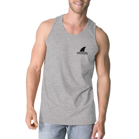 Mini Shark Men Grey Graphic Sleeveless Tank Top For Summer Vacation (Graphic Mens Sleeveless)