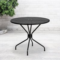 Flash Furniture 35.25'' Round Black Indoor-Outdoor Steel Patio Table