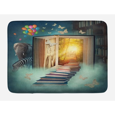 Fantasy Bath Mat, Upstairs To Magic Book Forest With Balloon Zebra Elephant Animal Butterflies, Non-Slip Plush Mat Bathroom Kitchen Laundry Room Decor, 29.5 X 17.5 Inches, Teal and Yellow,