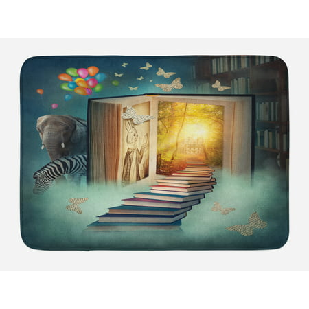 Fantasy Bath Mat, Upstairs To Magic Book Forest With Balloon Zebra Elephant Animal Butterflies, Non-Slip Plush Mat Bathroom Kitchen Laundry Room Decor, 29.5 X 17.5 Inches, Teal and Yellow, Ambesonne