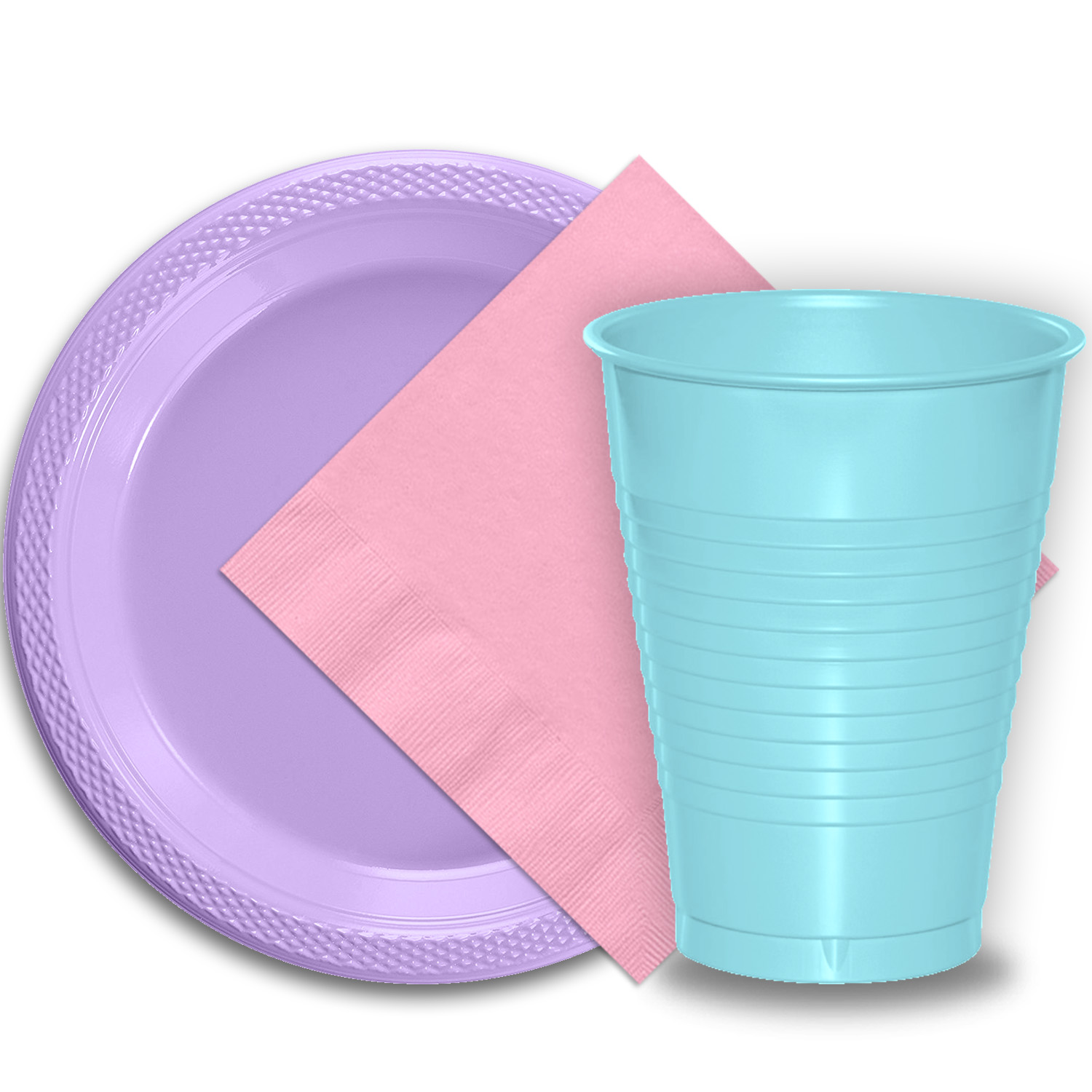 "50 Lavender Plastic Plates (9""), 50 Light Blue Plastic Cups (12 oz.), and 50 Pink Paper Napkins, Dazzelling Colored Disposable Party Supplies Tableware Set for Fifty Guests."