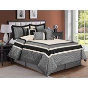 HIG 7 Piece Comforter Set Cal.King-Gray Series Patchwork Diamond Pintuck-MYA Bed In A Bag Cal.King Size-Soft, Hypoallergenic,Fade Resistant-1 Comforter,2 Shams,3 Decorative Pillows,1 Bedskirt