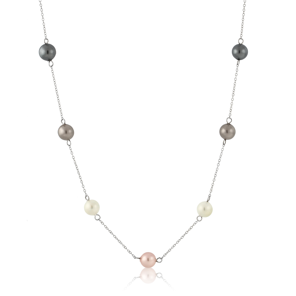 925 Sterling Silver Multi Color 8MM Mother Of Pearl Shell Pearl Necklace