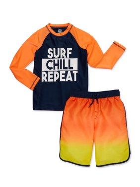 Wonder Nation Boys 4-18 UPF 20+ Long Sleeve Rash Guard Swim Shirt and Swim Trunks, 2-Piece Set