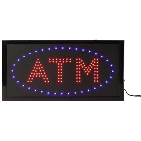 - LED Flashing Sign Advertises ATM Locations, 19 x 9-5/8 x 3/4-Inch, Red And Blue Bulbs, 2 Illumination Options, Wall Or Window Mount (LEDSGNATMD)