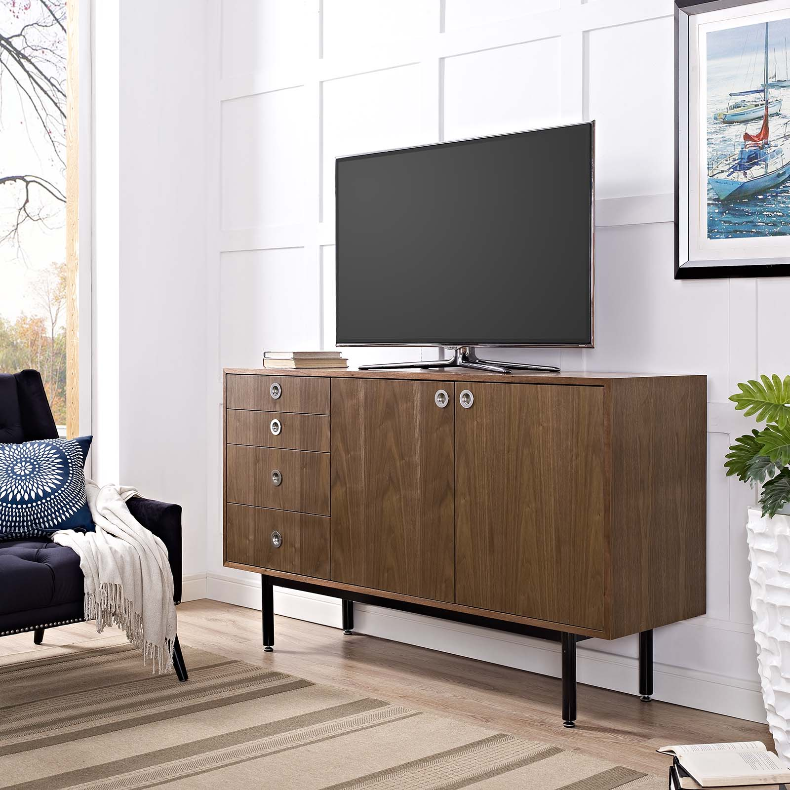 Modway Delegation Stand or Sideboard Cabinet in Walnut