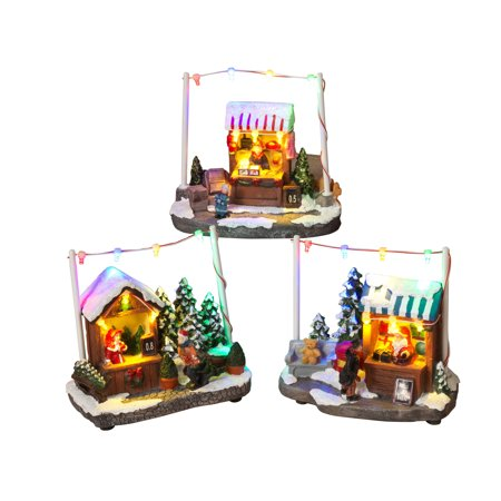 Multi-Colored, Battery-Operated Assorted Holiday Shops (Set of 3)