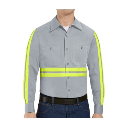 Red Kap Long Sleeve Work Shirt (Red Kap Men's Long Sleeve Enhanced Visibility Cotton Work Shirt )