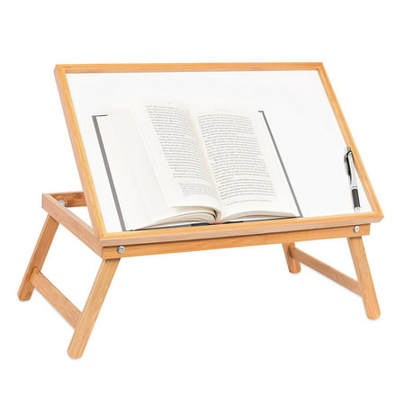 Bamboo Desk (Ktaxon Adjustable Wood Bed Tray Lap Desk Serving Table Folding Legs Bamboo Food Dinner )