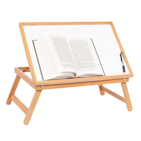 Ktaxon Adjustable Wood Bed Tray Lap Desk Serving Table Folding Legs Bamboo Food Dinner