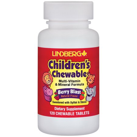 Children's Chewable Multi-Vitamin & Mineral - Berry Blast Flavor - Sweetened with Xylitol and Stevia - No Artificial Flavors or Synthetic Colors (120 Chewable -