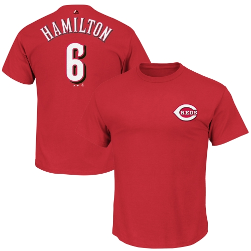 Billy Hamilton Cincinnati Reds Majestic Official Name and Number T-Shirt - Red
