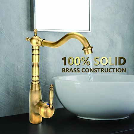 Antique Retro Style Solid Br Kitchen Bathroom Basin Sink Faucet Hot Cold Pipes Mixer Tap