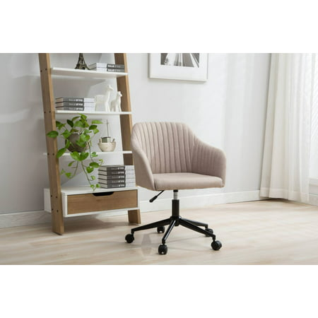 Porthos Home Adjustable Height Fabric Office Desk Chair with Arms and Caster Wheels, Easy Assembly Castered Desk Chair
