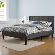 Porch & Den Priage Upholstered Square Stitched Platform Bed with Wooden Slats-King