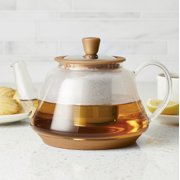 BonJour Glass Teapot with Metallic Copper Detailing