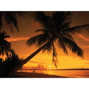 Island Way Outdoor Sunset Fire Photographic Print on Canvas