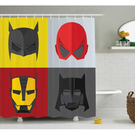 Superhero Shower Curtain, Masks for Disguise of Heroes for Fighting Evil Fun Cartoon Retro Art Prints, Fabric Bathroom Set with Hooks, 69W X 75L Inches Long, Red Grey Yellow, by - Superhero Shower Curtain