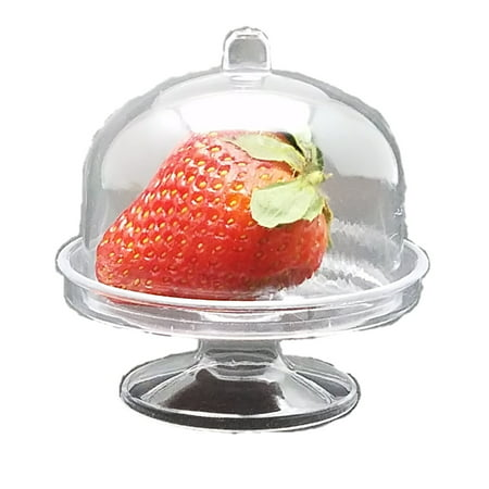 "12 Miniature Plastic Clear Acrylic Cake Holder with Dome oval 3"" wide x 3"" tall"