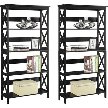 Convenience Concepts Oxford 5-Tier Bookcase, Set of 2, (Mix and Match) Contemporary Two Tier