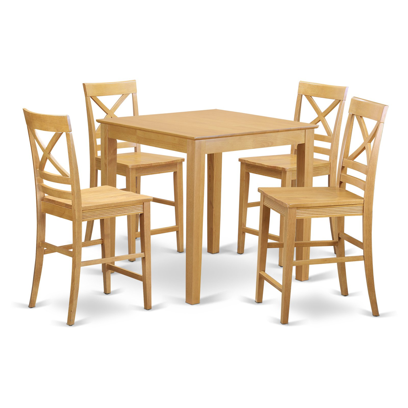East West Furniture Pub 5 Piece Cross-And-Ladder Dining Table Set