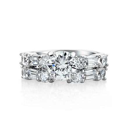 Deco Style 2CT Round Solitaire AAA CZ Anniversary Wedding Baguette Band Engagement Ring Set For Women Sterling