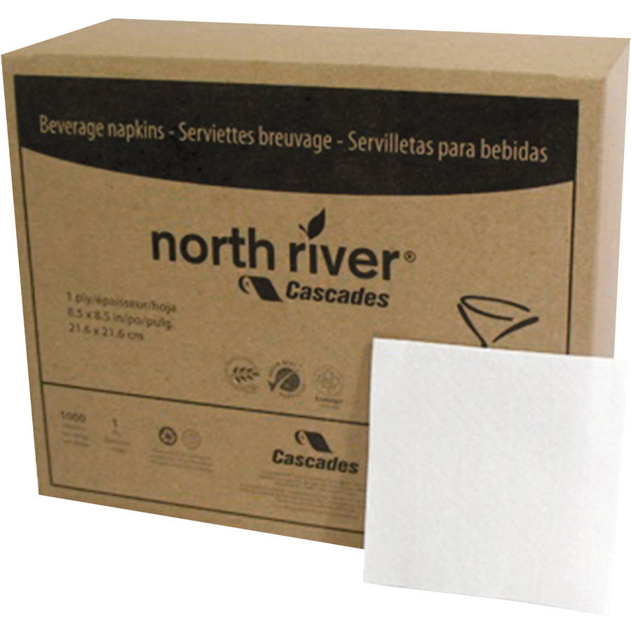 Cascades North River 1-Ply Beverage Napkins. White, 1000 count, (Pack of 4)