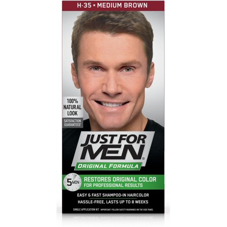 Just for Men Original Formula, Easy and Fast Shampoo-In Men's Hair Color, Medium Brown, Shade (Best Hair Color For Shoulder Length Hair)