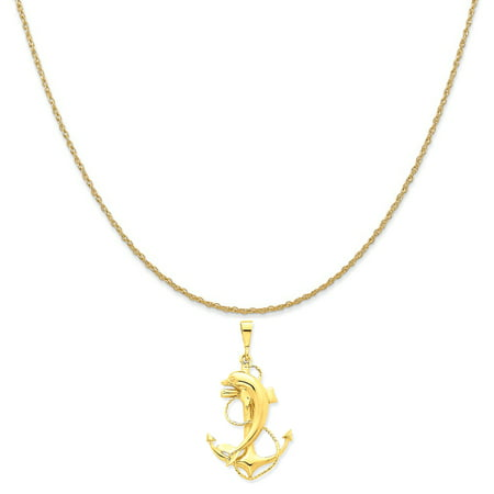 14k Yellow Gold Solid Polished Anchor with Dolphin Pendant on 14K Yellow Gold Rope Necklace,