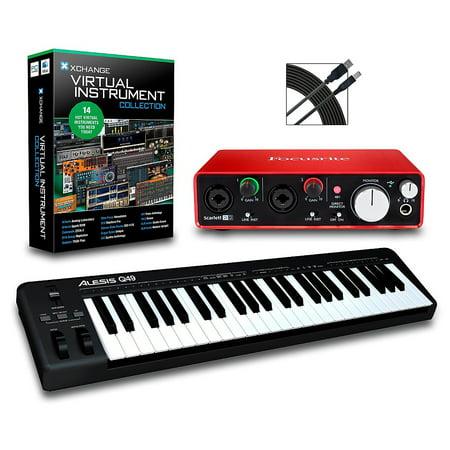 Alesis Q49 49-Key MIDI Keyboard Controller Packages Intermediate Virtual Instrument (Brass Virtual Instrument)