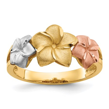 14kt Tri Color Yellow White Gold Plumeria Band Ring Size 7.50 Flowers/leaf Fine Jewelry Ideal Gifts For Women Gift Set From Heart