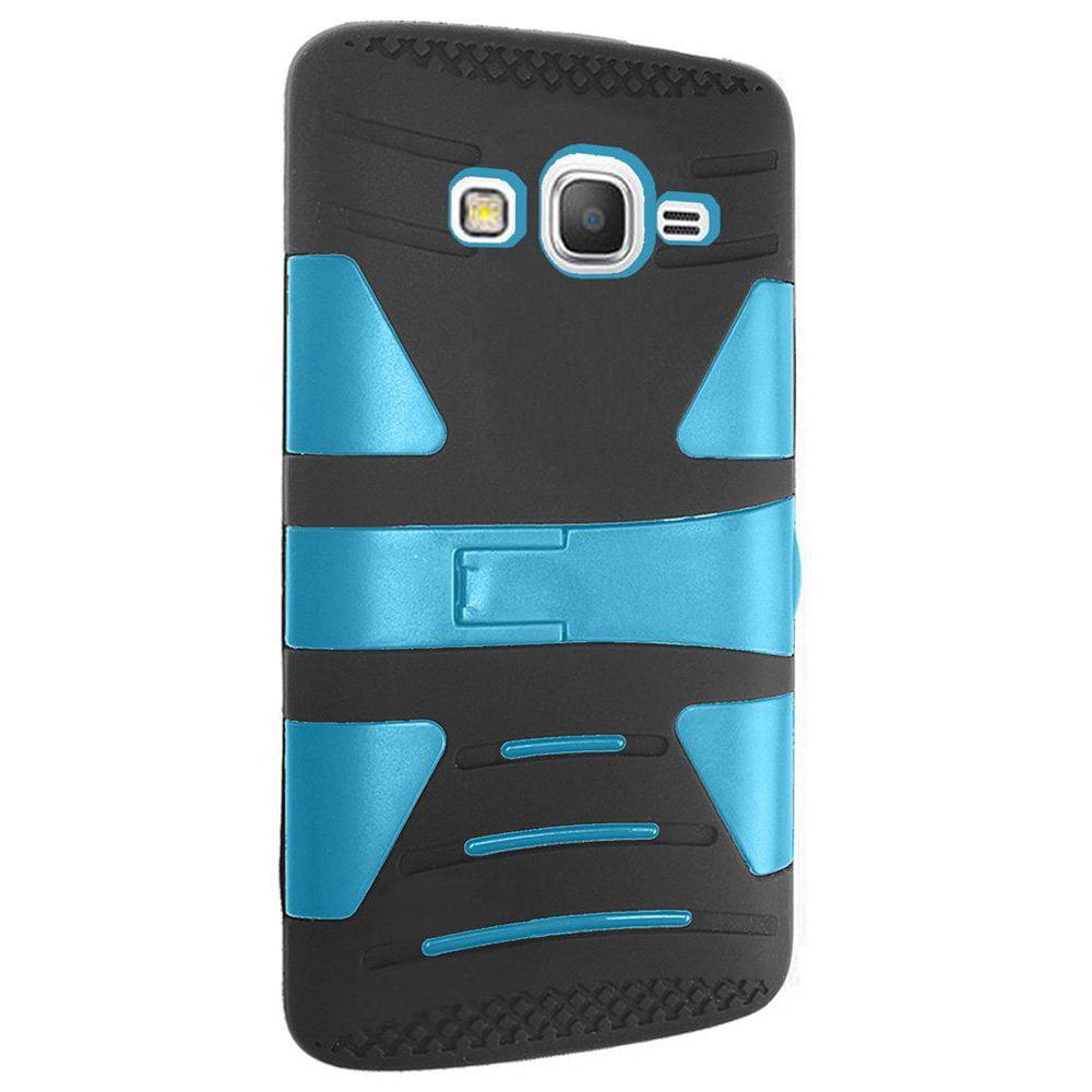 Samsung GALAXY Grand Prime G530 Slim Fit Hybrid Hard Cover Soft Rubber Silicone Kickstand Case - Sky Blue/ Black