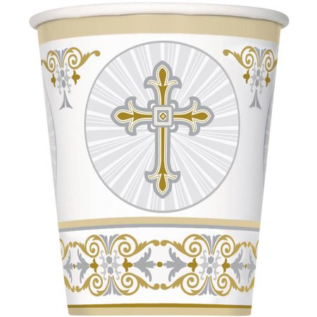 Radiant Cross Religious Paper Cups, 9 oz, Gold & Silver, - Gold Party Cups