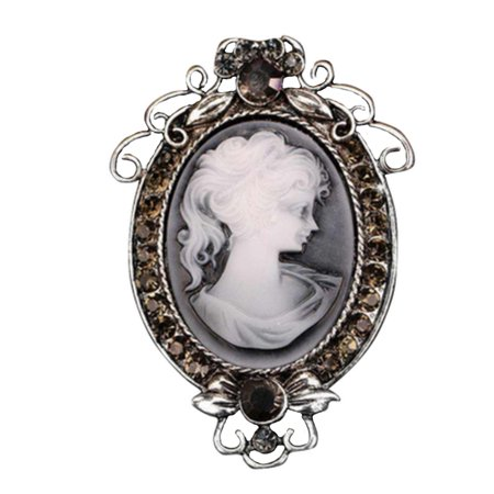Silver Tone Antique Cameo Brooch Pin with Marcasite Crystals Classic Cameo Style, Brooch-21 Antique Silver Tone Brooch